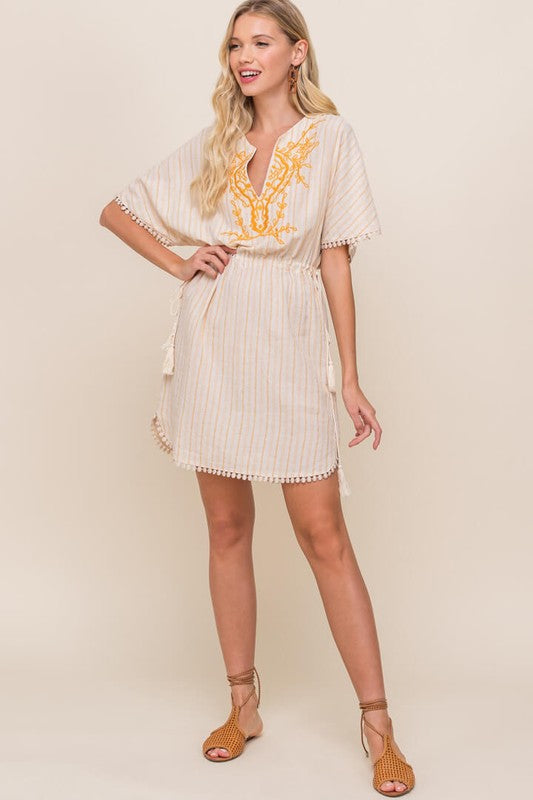 Embroidered Kaftan Mini Dress
