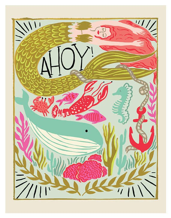 Olive & Company - Ahoy! Mermaid Art Print - 11 X 14