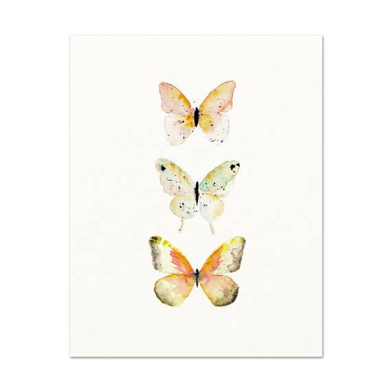 Snoogs & Wilde Art - Watercolor Butterflies #3 ~ Art Print
