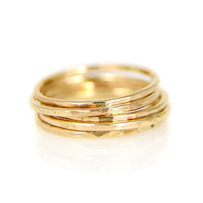 14k Gold Fill Hammered Stacking Ring