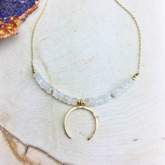 Rainbow Moonstone 14k Gold Fill Chain And Crescent Pendant
