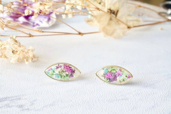 Real Pressed Flowers and Resin Eye Stud Earrings