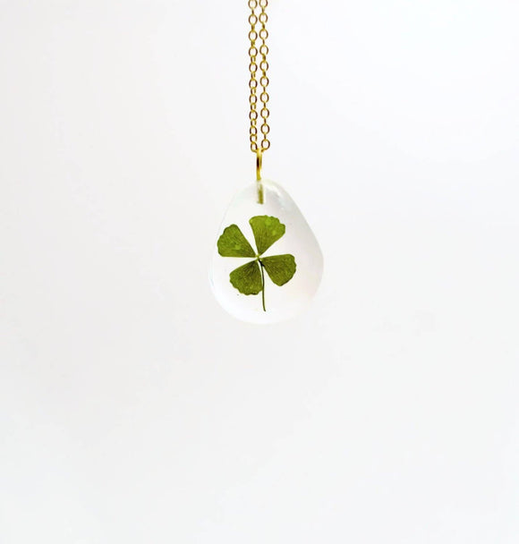 Real four leaf clover necklace, real clover jewelry