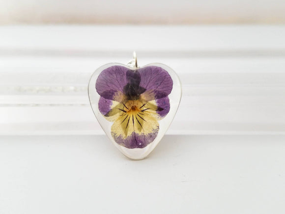 Real pansy necklace, real flower necklace, gift