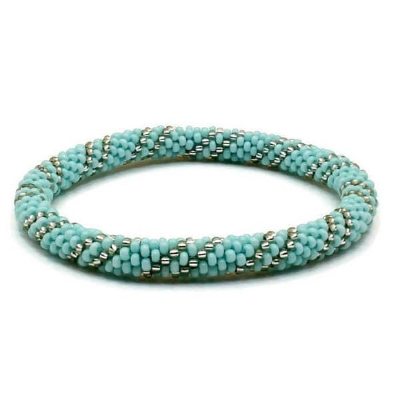 Teal Blue Base With Silver Bead Swirl Nepal Bracelet