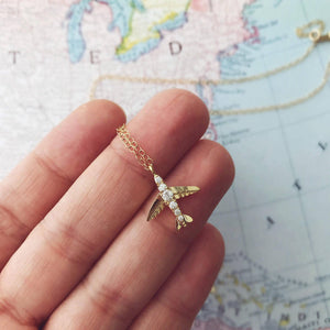 Gold Airplane Necklace - 14k gold filled
