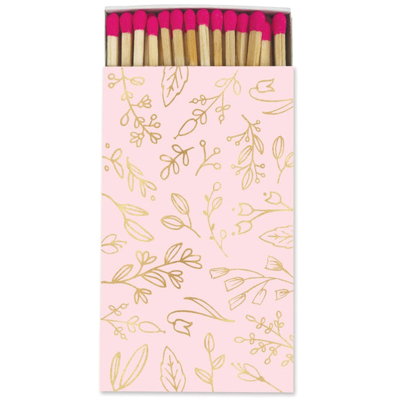 Large Match Box: Pastel Pink & Gold Foil Floral