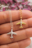 Silver Airplane Necklace - Sterling Silver
