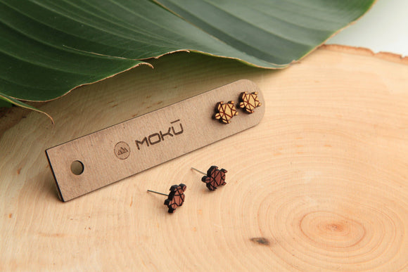 Honu | Wood Stud Earrings | Eucalyptus and Osage Orange