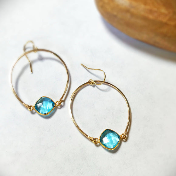 Blue Topaz Lisa Hoops