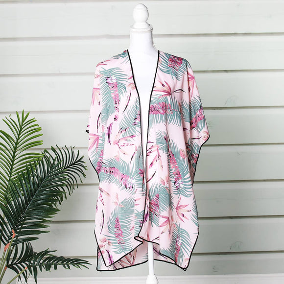 Funky Monkey Fashion - Summer - Pink & Green Palm Pattern Tropical Kimono