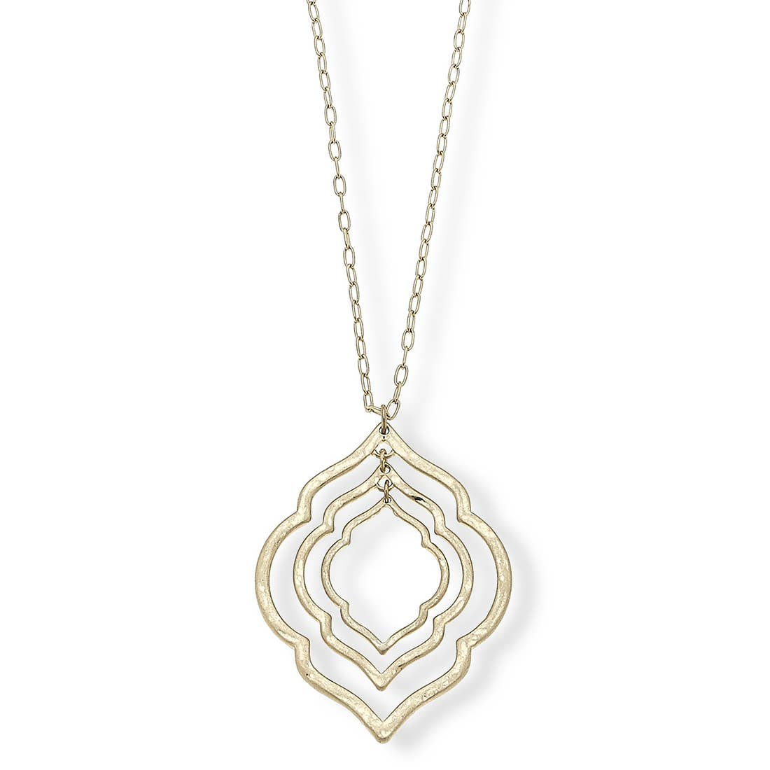 Emily Pendant Necklace in Worn Gold, Silver