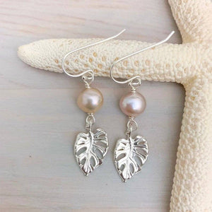 Pearl Monstera Earrings