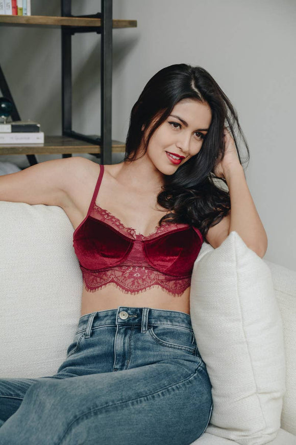Velvet and Lace Half Cami