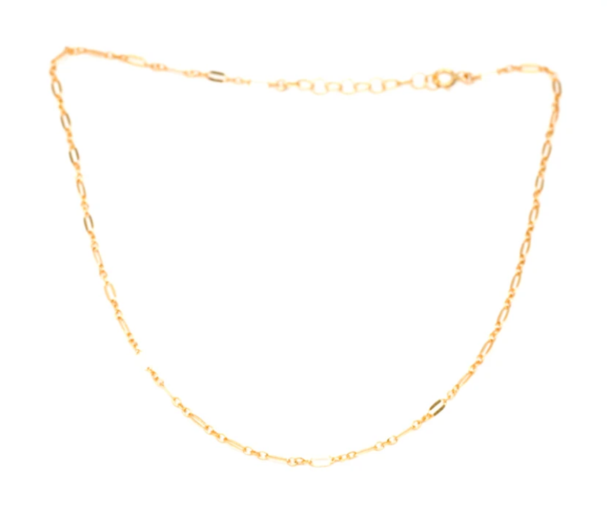 14k Gold Filled Sequin Chain Choker Necklace