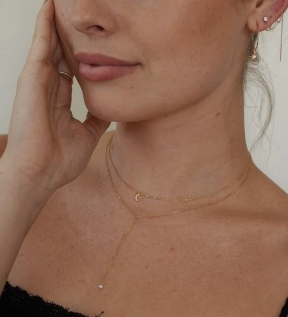 14k Gold Dainty Pearl Lariat Necklace