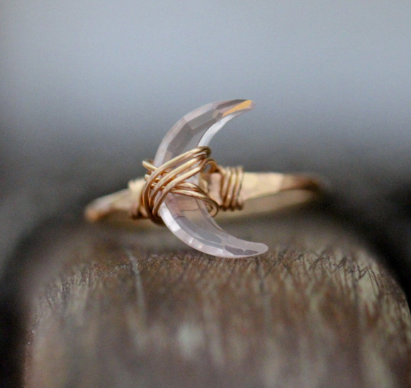 Moonbeam Ring - Rose Quartz (gold fill)