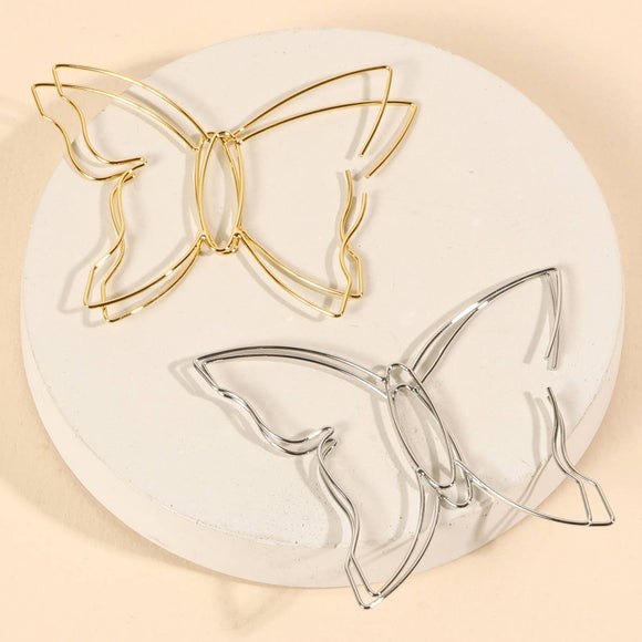 Butterfly Wire Gold Dip Hoop Earrings