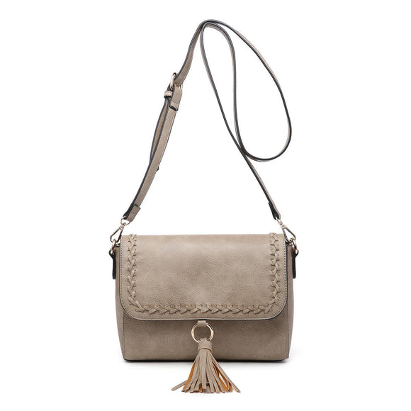 Whipstitch Flapover Crossbody with Tassel