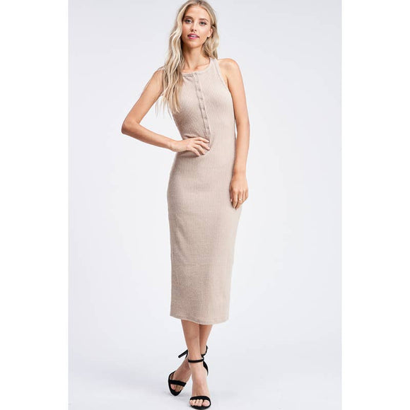 SLVLESS BUTTON PLACKET FITTED KNIT MAXI DRESS - IMC4855D-1