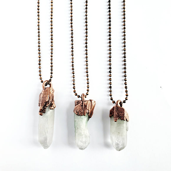 Fuchsite in Quartz Crystal Necklace