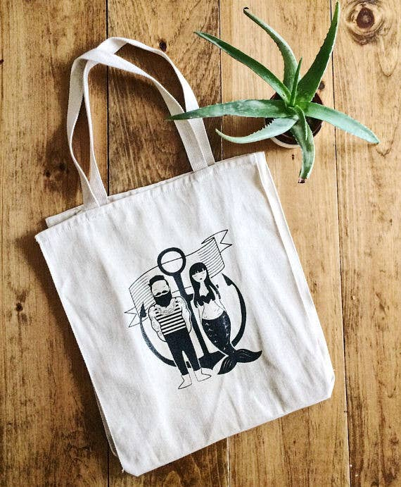Olive & Company - Sailor & Mermaid Natural Canvas Grocery Tote