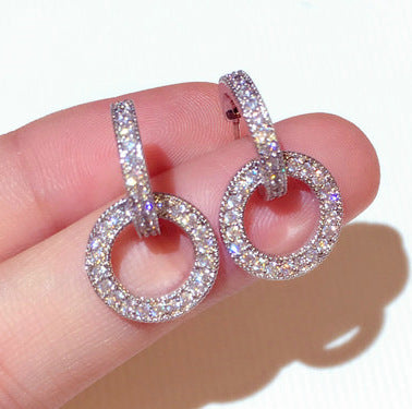Earrings - CZ crystal Double Hoops