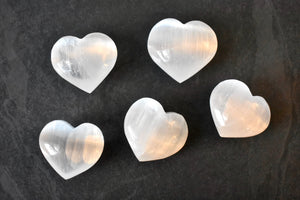Small Selenite Heart Crystals - Pocket Stone Gifts