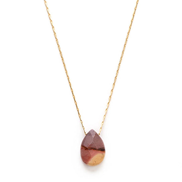 Mookaite Faceted Teardrop gem Necklace