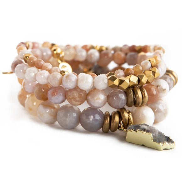 Rainbow Agate Gemstone Stretch Bracelets