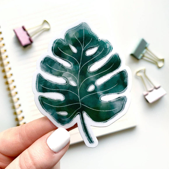Watercolor Monstera Sticker 3x3in.