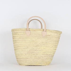 Straw Bag - Santiago French Basket with Natural Leather