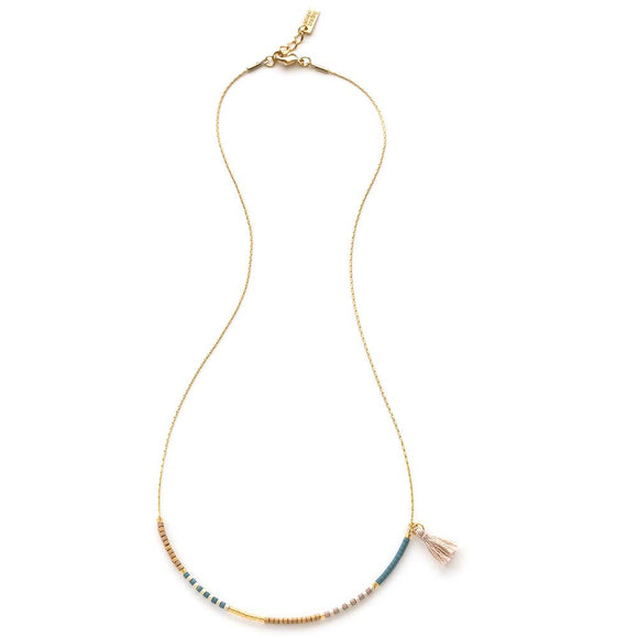 JAPANESE SEED BEAD NECKLACE - SKY