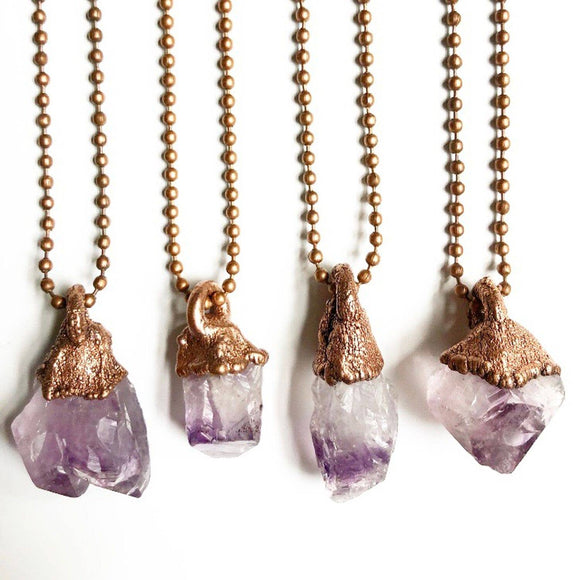 Raw Amethyst Crystal Point Necklace
