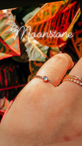 Mini Moonstone Stacking Ring in Gold