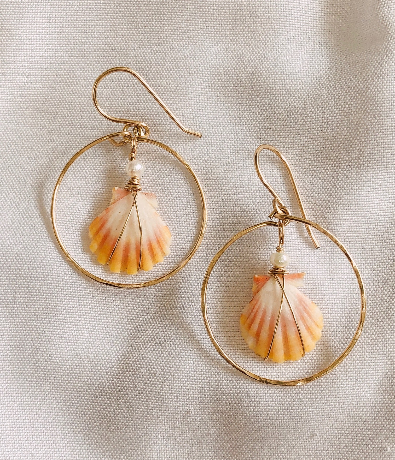 14k gold filled sunrise shell earrings