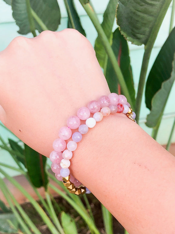 *Bundle* Rainbow Agate + Rose Quartz Bracelets