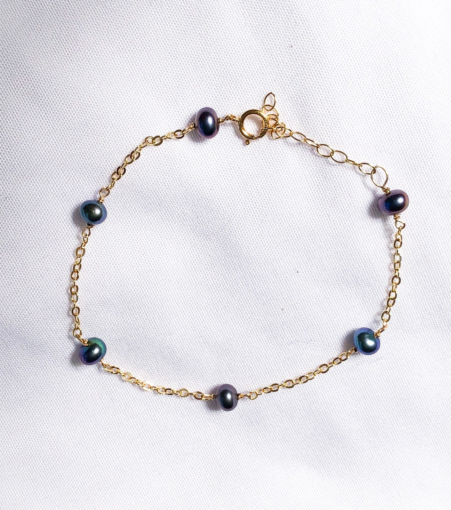 Black Fresh Pearl Bracelet