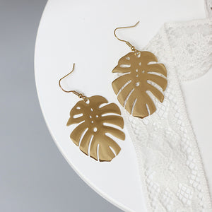 Stainless Steel Gold Leaf Earrings