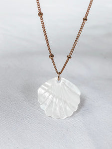 14k gold filled mother of pearl shell necklace
