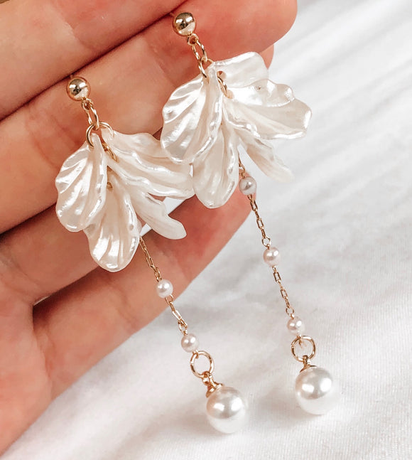 White Flower + Pearl Earrings