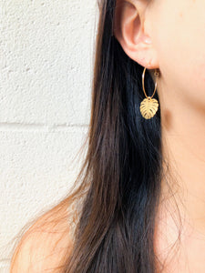 Stainless Steel Leaf Earrings - 14k gold filled hooks