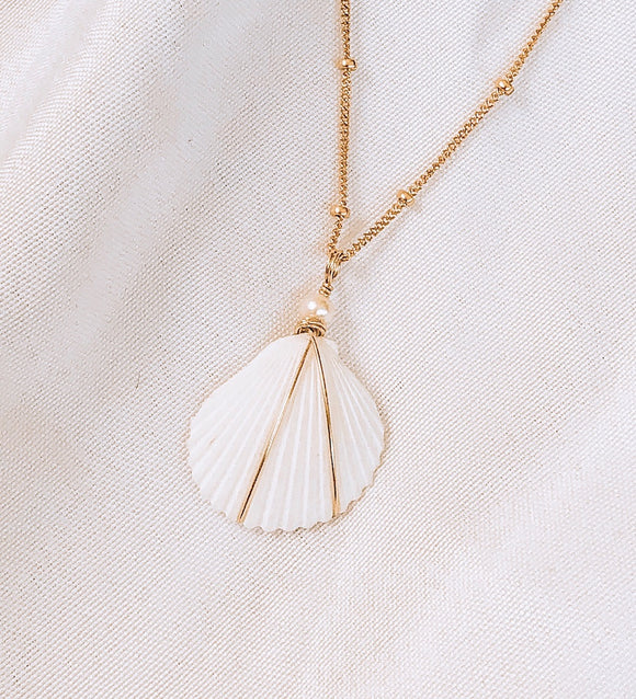 Hawaiian White Shell + freshwater pearl necklace