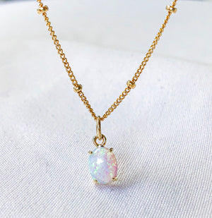 Open image in slideshow, Oval Opal - 14k gold filled necklace
