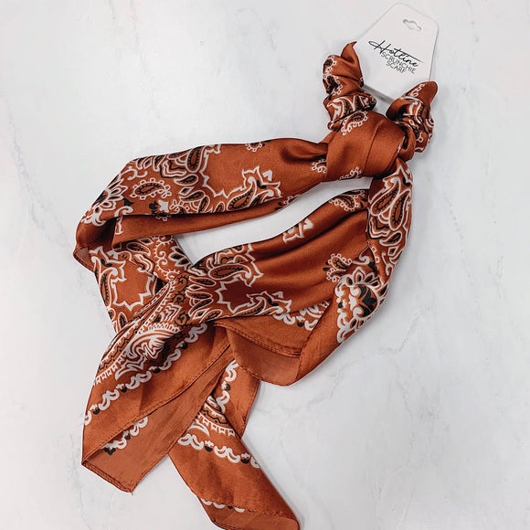 Rust Paisley Scrunchie Scarves