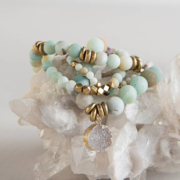 Amazonite Gemstone Stretch Bracelets