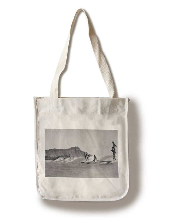 Lantern Press - Tote Bag Honolulu Hawaii Surfers off Waikiki Beach Photo
