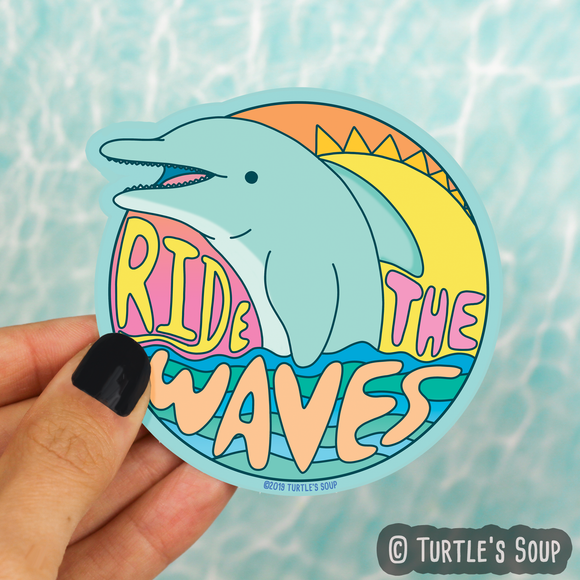 Ride the Waves Dolphin Vinyl Sticker