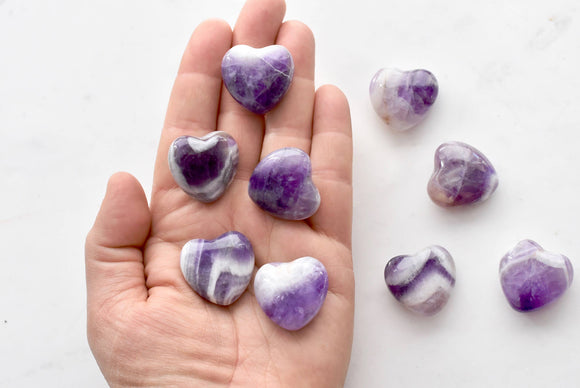 Amethyst Heart Crystals - Purple Healing Stone