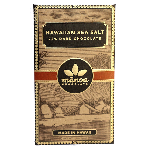 Manoa Chocolate Hawaii - Hawaiian Sea Salt Chocolate Bar -  1.76 oz